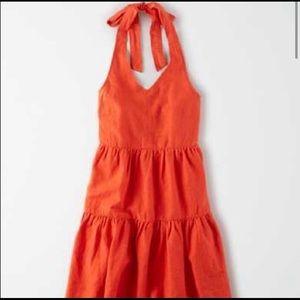 AmericanEagle Orange Tiered Ruffle Halter Sundress